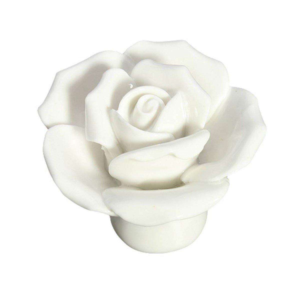 SODIAL(R) 10pz Maniglia di porte ceramiche del fiore della Rosa dell'annata maniglia del cassetto bianco