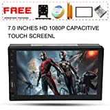 Upgraded 7 Inch Double Din Capacitive Touch Screen Car Stereo Radio Headunit with Free Rear Camera And Car Tuning Tools And Remote Control Support Mirror Link Audio Receiver MP5 Player