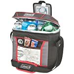 Coleman, Soft Cooler 4 Keeps ice up to 24 hours at temps up to 90°F Holds 30 cans Zippered main compartment is insulated to keep contents cold; front pocket provides extra storage for dry goods and utensils