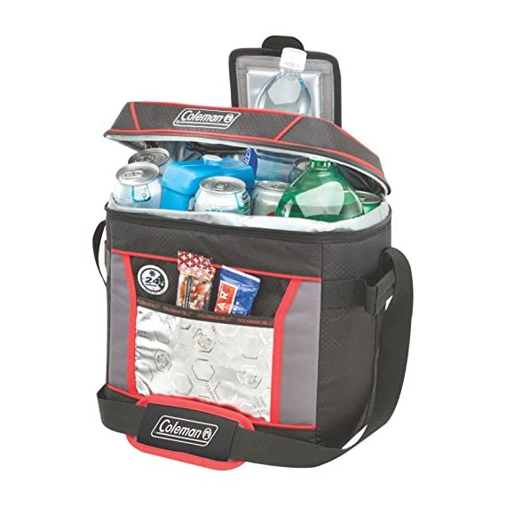 Coleman, Soft Cooler 2 Keeps ice up to 24 hours at temps up to 90°F Holds 30 cans Zippered main compartment is insulated to keep contents cold; front pocket provides extra storage for dry goods and utensils