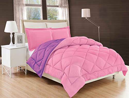 Elegant Comfort All Season Comforter and Year Round Medium Weight Super Soft Down Alternative Reversible 2-Piece Comforter Set, Twin/Twin XL, Pink/Purple (Barbie Bed Twin)