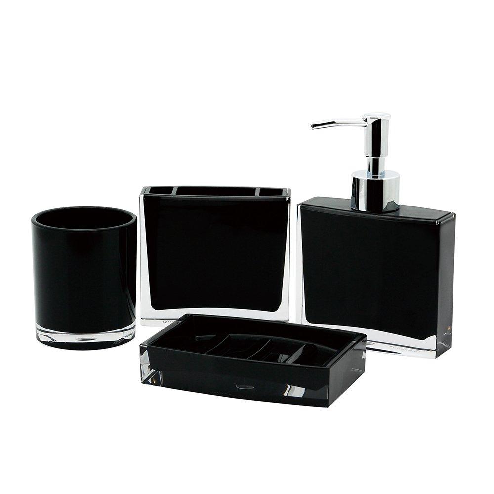 Kingston Brass CBAK2301K 4 Piece Krystal Bathware Bryce Bath Accessory Set, 6-1/8 Inch Length, Black