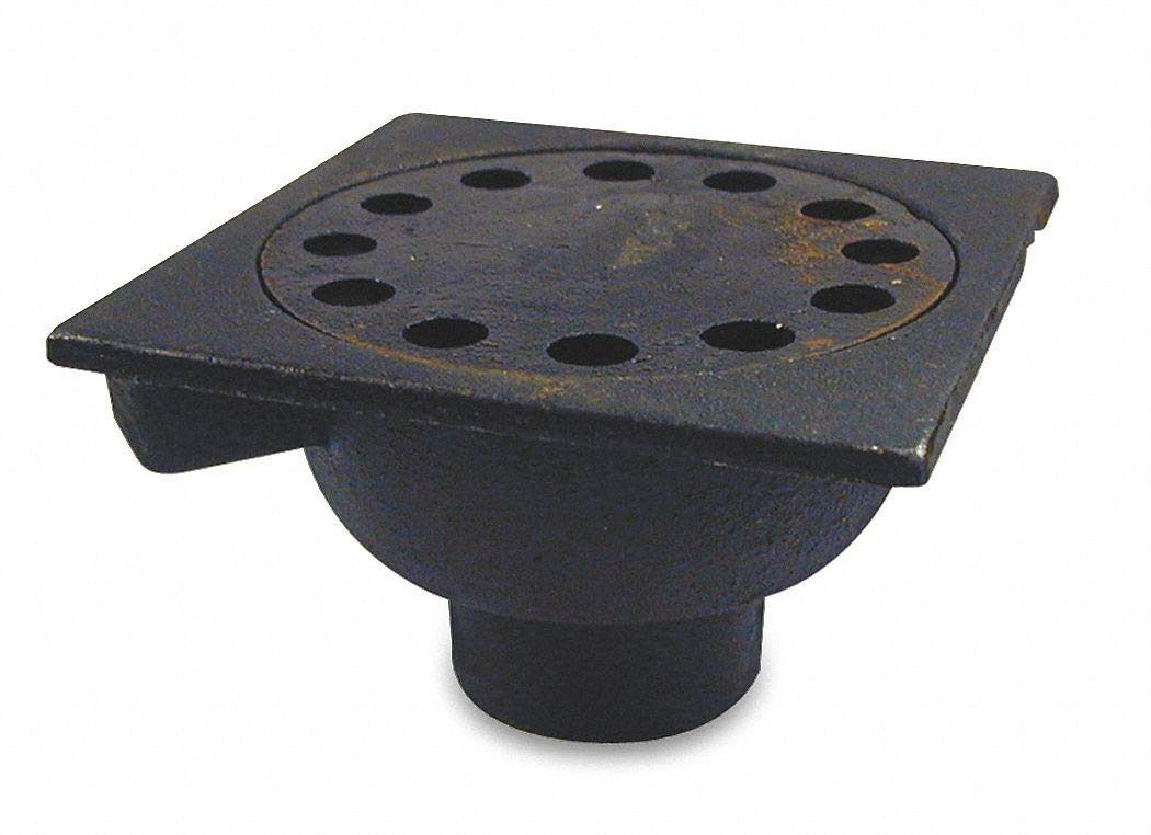 Cast Iron Square Bell Trap Drain, Slip Connection, 2'', Pipe Dia, 3'' Height - Drains by Unknown