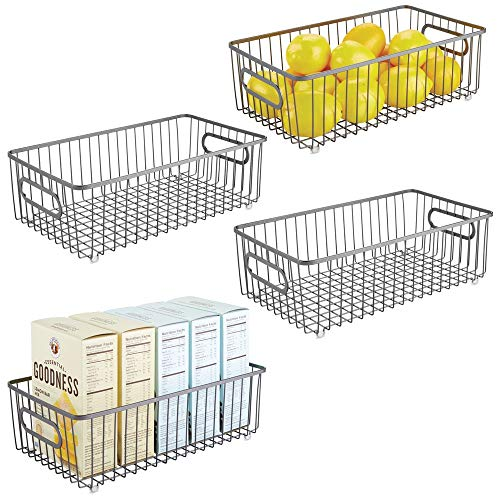 mDesign Metal Farmhouse Kitchen Pantry Food Storage Organizer Basket Bin - Wire Grid Design for Cabinet, Cupboard, Shelf, Countertop - Holds Potatoes, Onions, Fruit - Large, 4 Pack - Graphite Gray