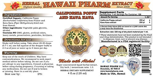 California Poppy and Kava Kava Liquid Extract, Organic California Poppy (Eschscholzia Californica) and Kava Kava (Piper Methysticum) Tincture Supplement 32 oz Unfiltered by HawaiiPharm (Image #1)