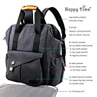 HapTim Multi-function Baby Diaper Bag Backpack W/ Stroller Straps- Insulated Pockets- Changing Pad Included, Nylon Fabric Waterproof for Moms & Dads(Dark Gray-5279) by HapTim