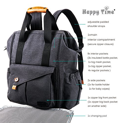 Haptim Baby Diaper Bag Backpack With Stroller Straps Free