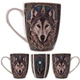 wolf coffee mug - Lisa Parker Wolf Head Mug - Boxed Mug by Giftbrit