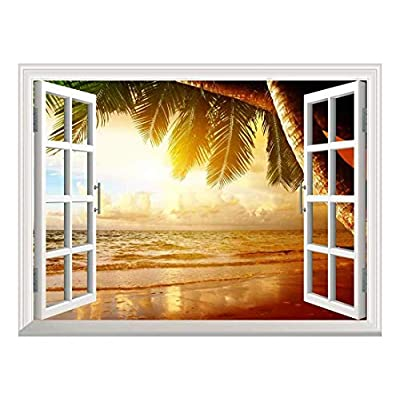 Fascinating Composition, Premium Creation, Removable Wall Sticker Wall Mural Sunrise on The Oceanside Creative Window View Wall Decor