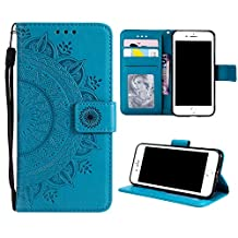 Case for iPhone 7 PU Leather Flip Wallet Cover, Mistars for iPhone 8 Tribal Mandala Flower Pattern Embossed Full Body Protection Cove with Card Holder Kickstand Magnetic Closure Shell Inner Soft TPU Silicone Bumper for Apple iPhone 7 / 8 (4.7 inch) - Blue