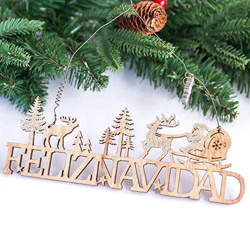 Lovewe Christmas Elk Wood Plate,Hollow Door Hanging,Wooden Pendant,Xmas Ornaments Decor (H)
