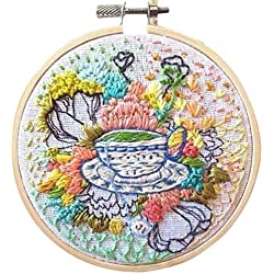 HMANE 6 x 6 Inch DIY Rug Hooking Kit, Handcraft Woolen Embroidery Knitting with Punch Needle, Embroidery Frame - Afternoon Time