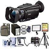 Sony FDR-AX700 4K Handycam Camcorder Sensor - Bundle 64GB SDHC U3 Card, Backpack, Spare Battery, Tripod, Video Light, Shotgun Mic, V-Bracket, 62mm Filter Kit, Cleaning Kit, Memory Wallet
