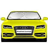 """Image of Car Windshield Sunshade - EveShine Sun shade UV Auto Protector (63"""" x 31.5"""") - Pop Up Style Retractable Sun Screen Front Window Sun Shade - Fits Most Universal Family Cars"""