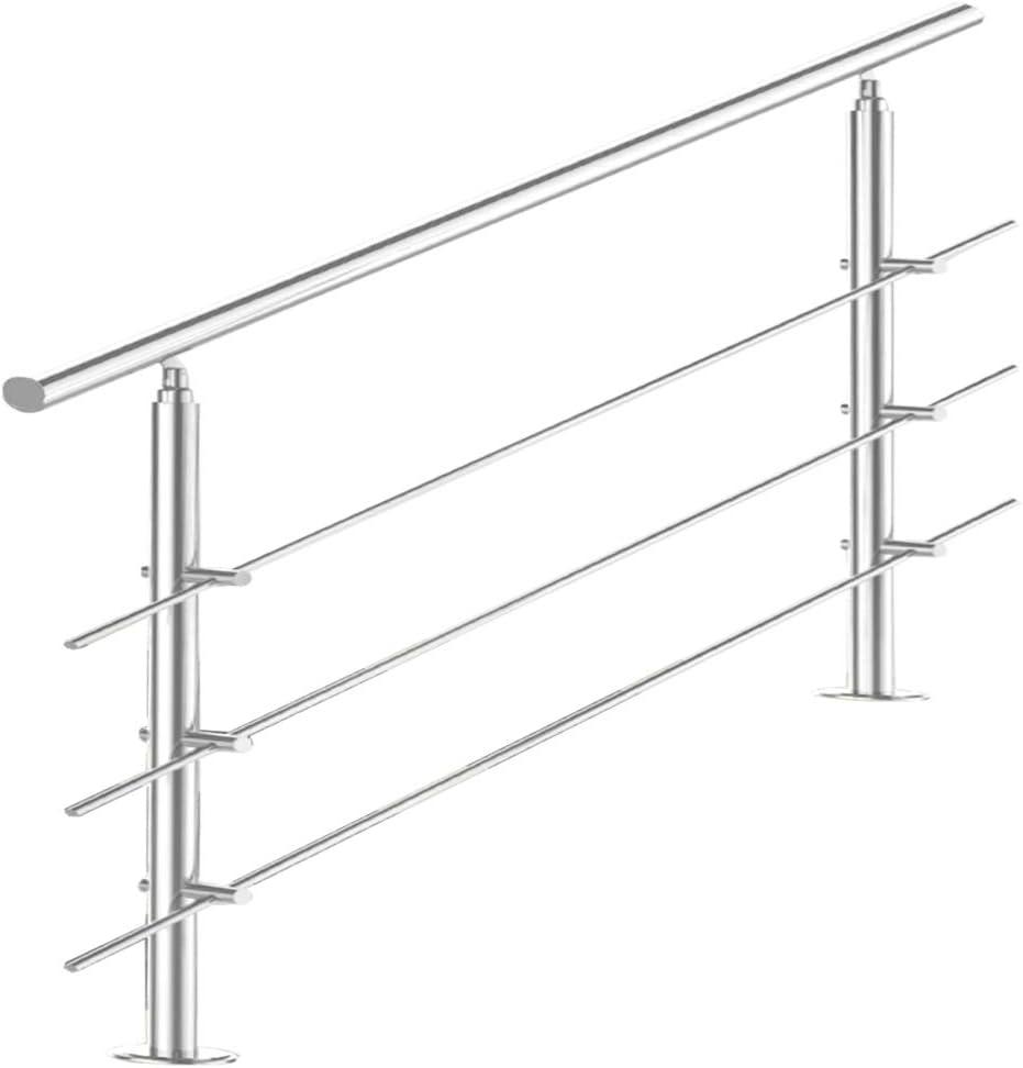 Treppengel/änder Edelstahl Handlauf Gel/änder Balkongel/änder Aufmontage Treppe L/änge:80 cm;Anzahl Streben:0