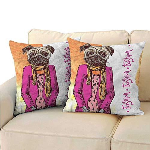 Godves Square Pillow Case Cover Pug Fashion Icon Scarf Jacket Velvet Soft Soild Decorative 18