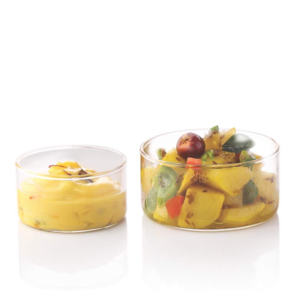 Borosil VCLK180 Vision Classic Large Katori Bowl [Set of 6] Lightweight Durable Glass, Odorless, Dishwasher Safe   6 Ounce Glass Bowls