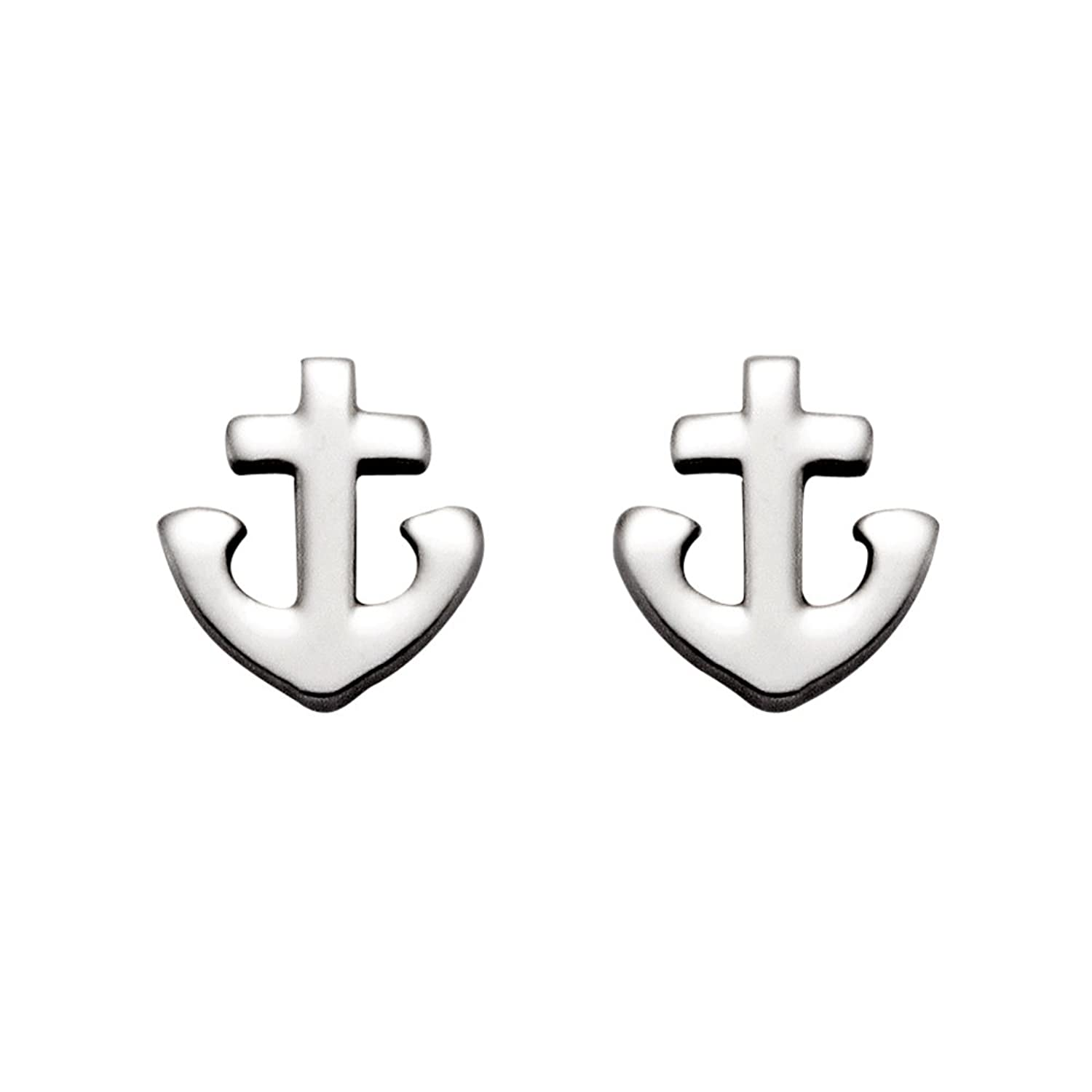 Amazon Small Stainless Steel Christian Cross And Anchor Stud