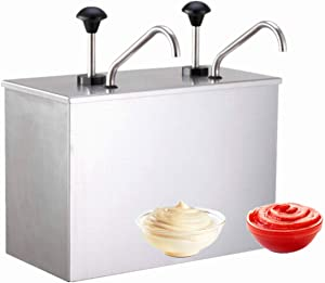 KUNHEWUHUA Sauce Pump Dispenser 1.8 gallon Stainless Steel Condiment Pump Station with 3.5L Removable Tanks