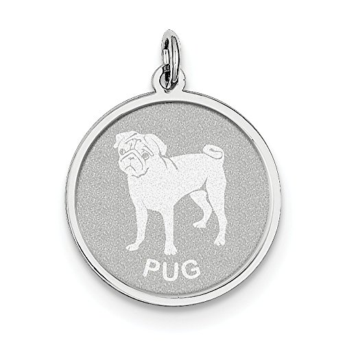 Sterling Silver Pug Disc Charm (Silver Pug Sterling)