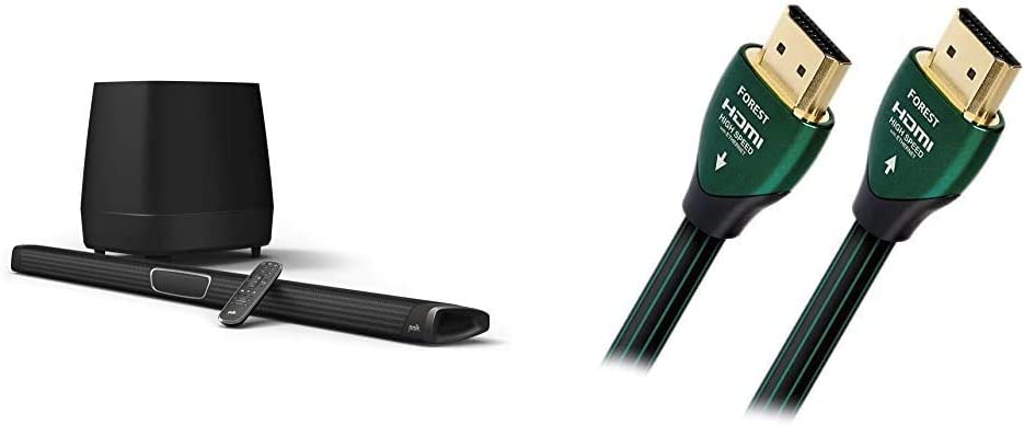 Polk Audio MagniFi Max Home Theater Sound Bar Bundle with 5.1 Dolby Digital Experience | Works with 4K & HD TVs with AudioQuest Forest 2.0m (6.7 ft.) Black/Green HDMI Cable