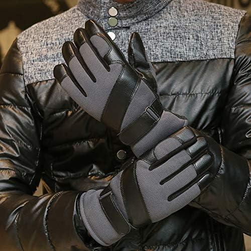 手袋 日常 実用 メンズレザーグローブ冬の防風ノンスリップウォームプラスベルベット肥厚屋外乗馬グローブ (Color : Purple, Size : One size)
