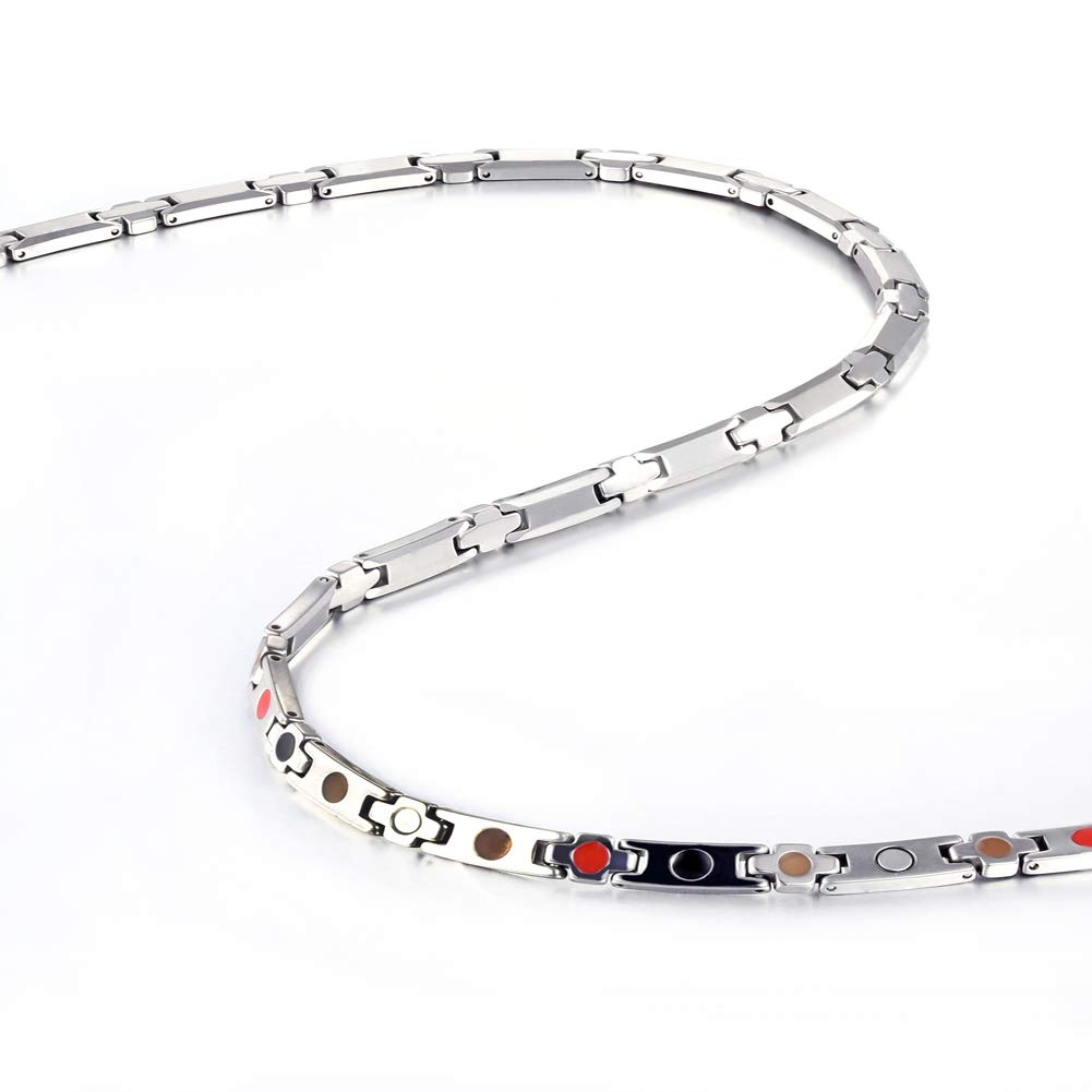 Tungsten Titanium Elegant Magnetic Therapy Necklace Germanium for Promote Blood Circulation (Sliver) by 38 (Image #3)