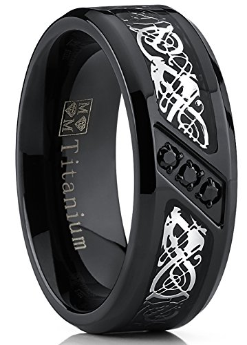 Titanium Cubic Zirconia Band - Metal Masters Co. Black Titanium Wedding Ring Band with Dragon Design Over Carbon Fiber Inlay and Black Cubic Zirconia SZ 9