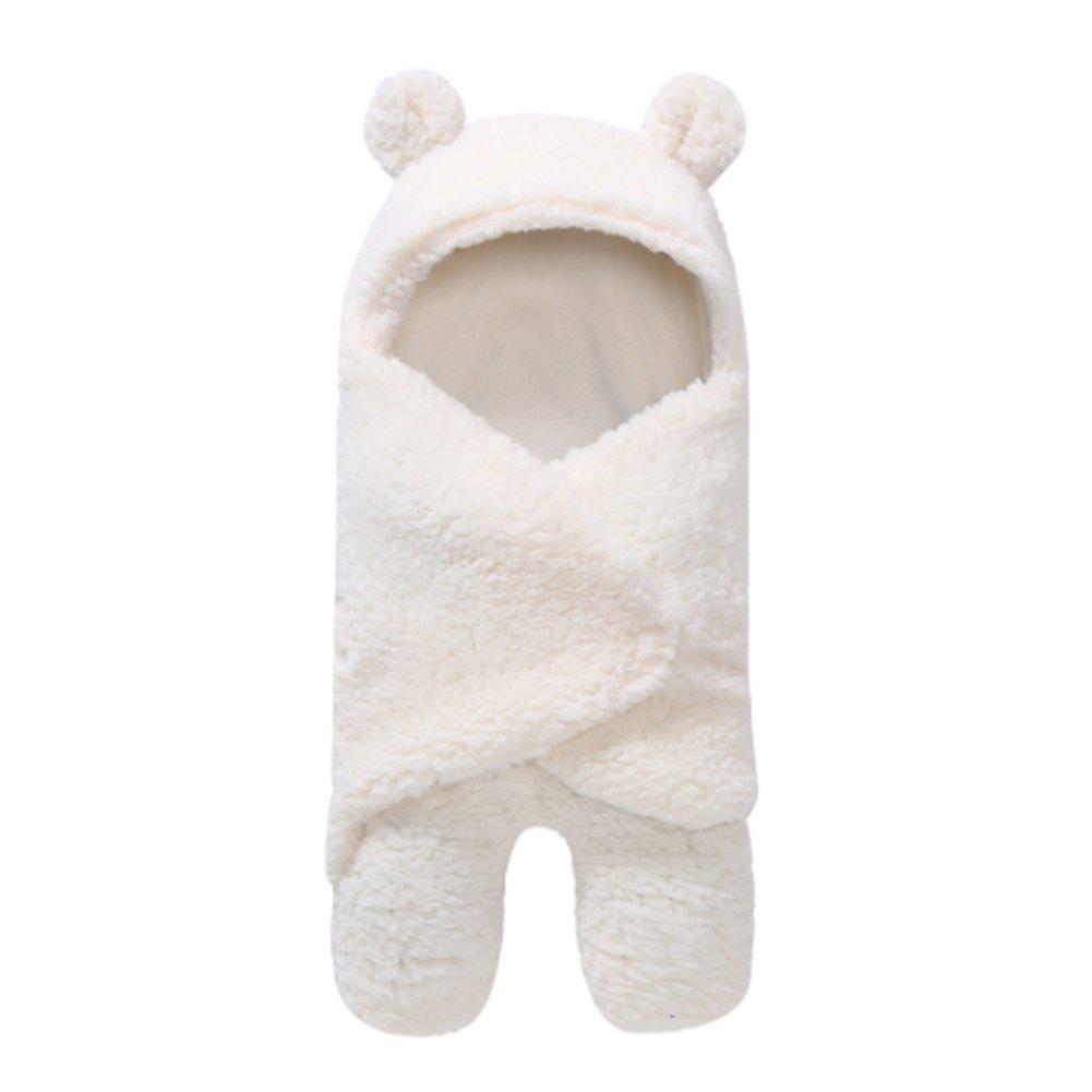 Newborn Sleeping Bag Sleepsacks Plush Swaddle Wrap Blankets Cute Pajamas Gown Cosy Safe(White)