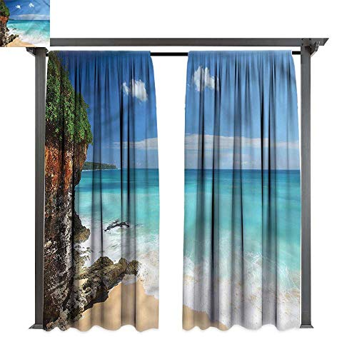 (cobeDecor Outdoor Curtain Beach Seaside Cliff Bali Indonesia for Lawn & Garden, Water & Wind Proof W108 xL108)