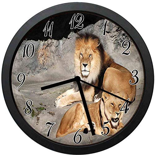 (YiiHaanBuy Zoo Decorative Wall Clock,Male and Female Lions Basking in The Sun Wild Cats Habitat King of Jungle-10inch no Ticking,Suitable for Every Room)