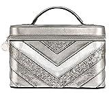 victoria secret brush set - Victoria's Secret Silver V-Quilt Vanity Train Case 9 x 6 x 6