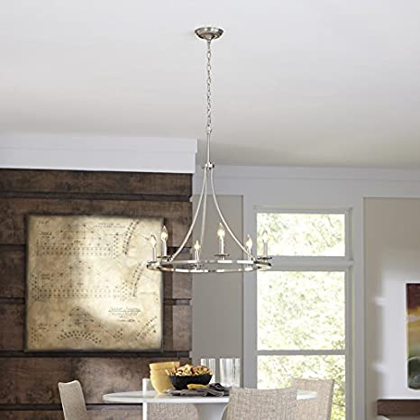 Contemporary Allen + Roth 6-light Brushed Nickel Dimmable Chandelier Faux  Candle Sticks Modern Lighting Home Bedroom Kitchen Ceiling Fixture - -  Amazon.com - Contemporary Allen + Roth 6-light Brushed Nickel Dimmable