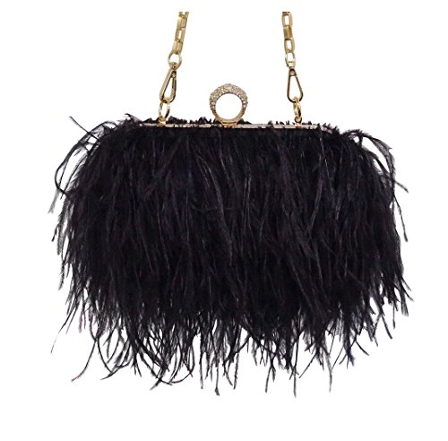 Zakia Real Natural Ostrich Feather Evening Clutch Shoulder Bag Party Bag (black) ()