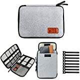 Travel Cable Organizer Bag Electronics Accessories Carry Cases Portable Cord Organizer Bag Case for USB Cable Cord Pen Hard Cables Earphone Ipad iPhone with 8 Cable Ties (Up to 7.9)