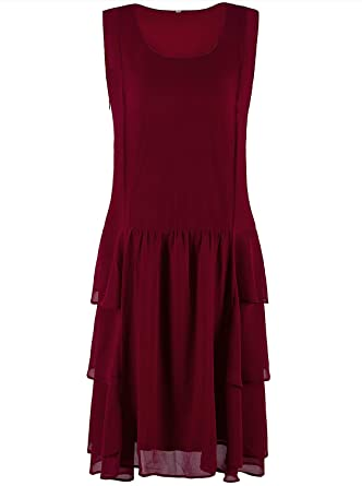 310e16dc456 VIJIV Womens 1920s Inspired Flapper Dress High Tea Great Gatsby Maroon with Tiered  Skirt 20s Dress at Amazon Women s Clothing store