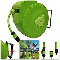 UISEBRT Carrete para Manguera de Agua Automática 30m - Soporte de Pared Rotación de 180°- para jardín, Garaje, Agricultura (30m): Amazon.es: Jardín