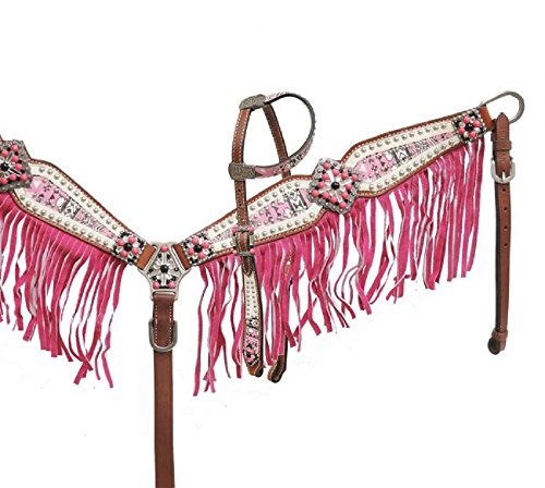 Showman PINK One Ear Aztec Print Studded Rhinestone Bling Concho Headstall Fringe Breast Collar Reins Set