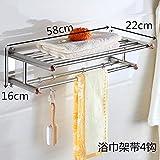 Towel Rack Stainless Steel Bath Towel Rack Bathroom Bathroom Stand Hotel Wall Hanging,Business Type Hotel (58Cm) Free Of Punch