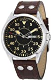 Stuhrling Original Men's 479.3315K1 Classic Traveler Trackmaster II Swiss Quartz Day and Date Brown Leather Strap Watch, Watch Central