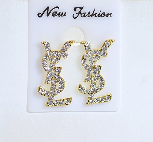 24 K Gold Plated on Letter YSL Earring With Clear White Crystal