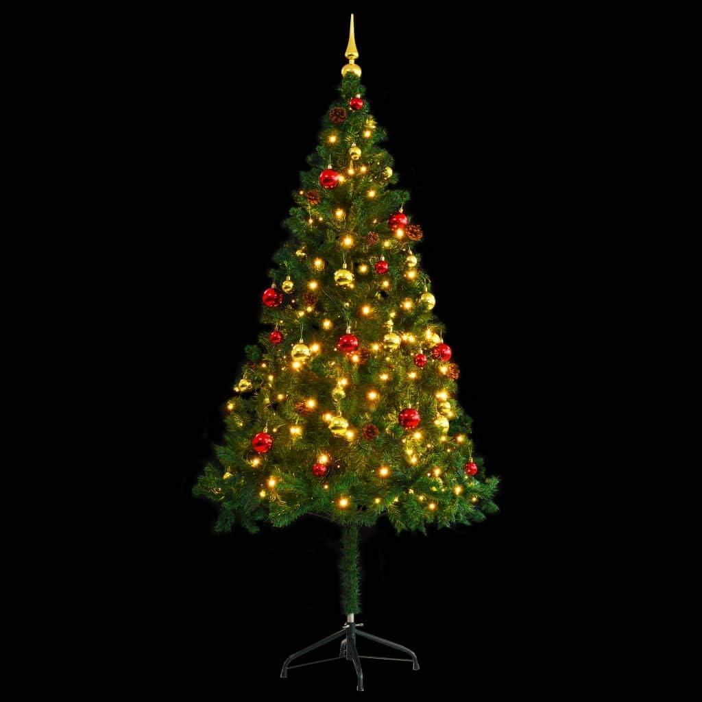 Decorazioni Natalizie 94.Vidaxl Albero Di Natale Artificiale Decorato Palline Led 180 Cm Verde Addobbi Amazon It Casa E Cucina