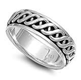 Sterling Silver Men's Celtic Knot Spinner Ring Wholesale Band 7mm Sizes 6-13