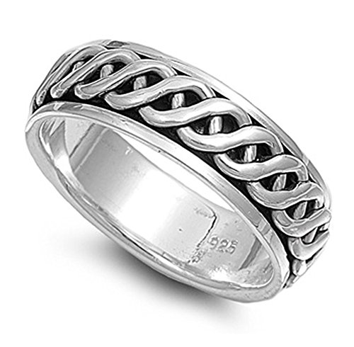 Sterling Silver Men's Celtic Knot Spinner Ring Wholesale Band 7mm Size 10 ()