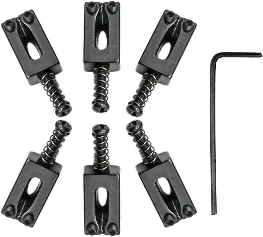 Healifty 6pcs Tremolo Guitar Bridge Saddles Flat for Fender Electric Guitar Ukulele Replacement Parts Accessories Black
