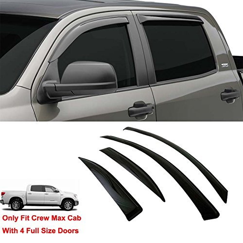 Gldifa Wind Deflector For 2007-2017 Toyota Tundra Crew Max With 4 Full Size Doors Sun/Rain Guard Vent Shade Window Visors 4pcs