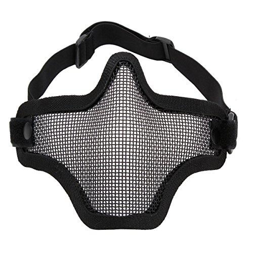 UNIQUEBELLA Airsoft Mask Striker Steel Half mask Face Guard Protector Tan camouflage (Camo Hockey Mask)