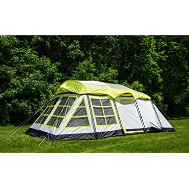 Tahoe Gear Glacier 14 Person 3-Season Family Cabin Camping Tent - Green/Grey