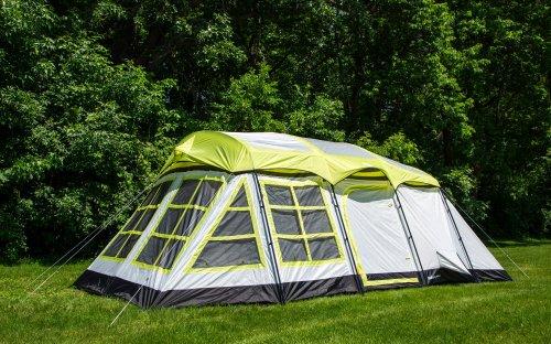 Tahoe Gear Glacier 14 Person 3-Season Family Cabin Camping Tent – Green/Grey