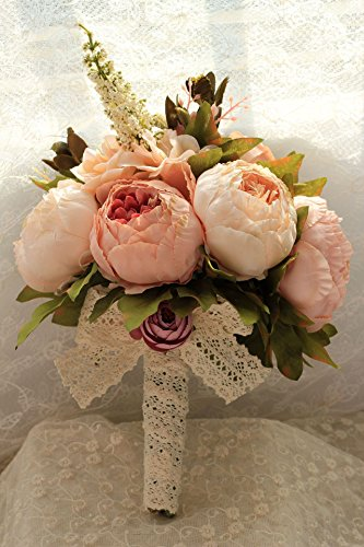 KUPARK Handmade Romantic Peony Artificial Flowers Blossom with Plants Simulations Decor Bridal Bridesmaid Bouquet Home Wedding Decoration Gift for Birthday Valentine's Day